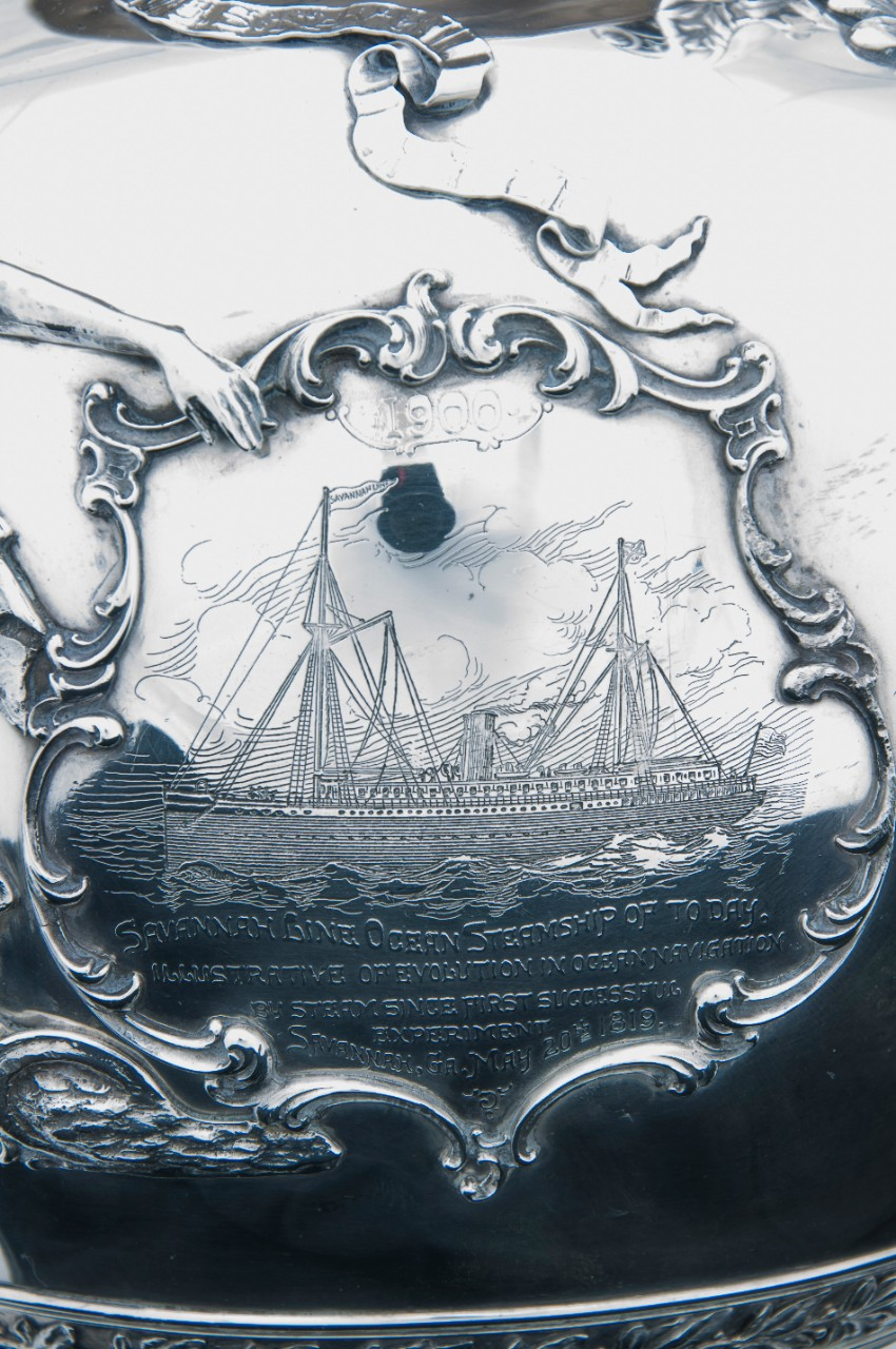 Detail of the ship Savannah from the obverse of the Loving Cup of Commodore Dewey