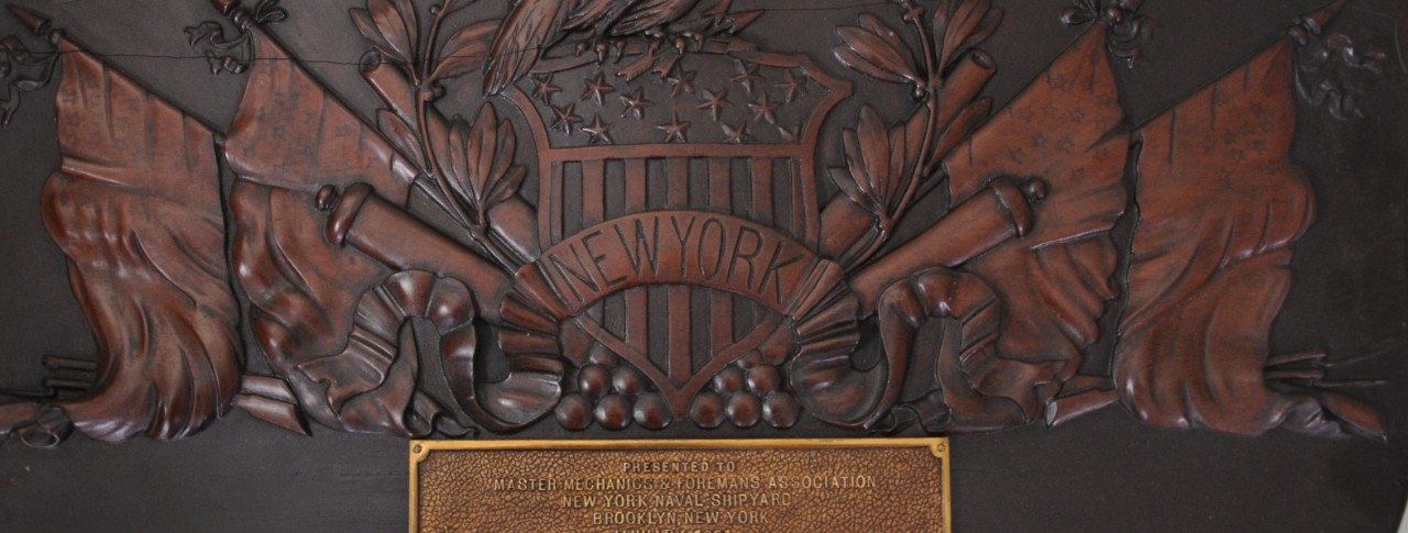 Wood and Bronze New York Navy Shipyard Commemorative Plaque