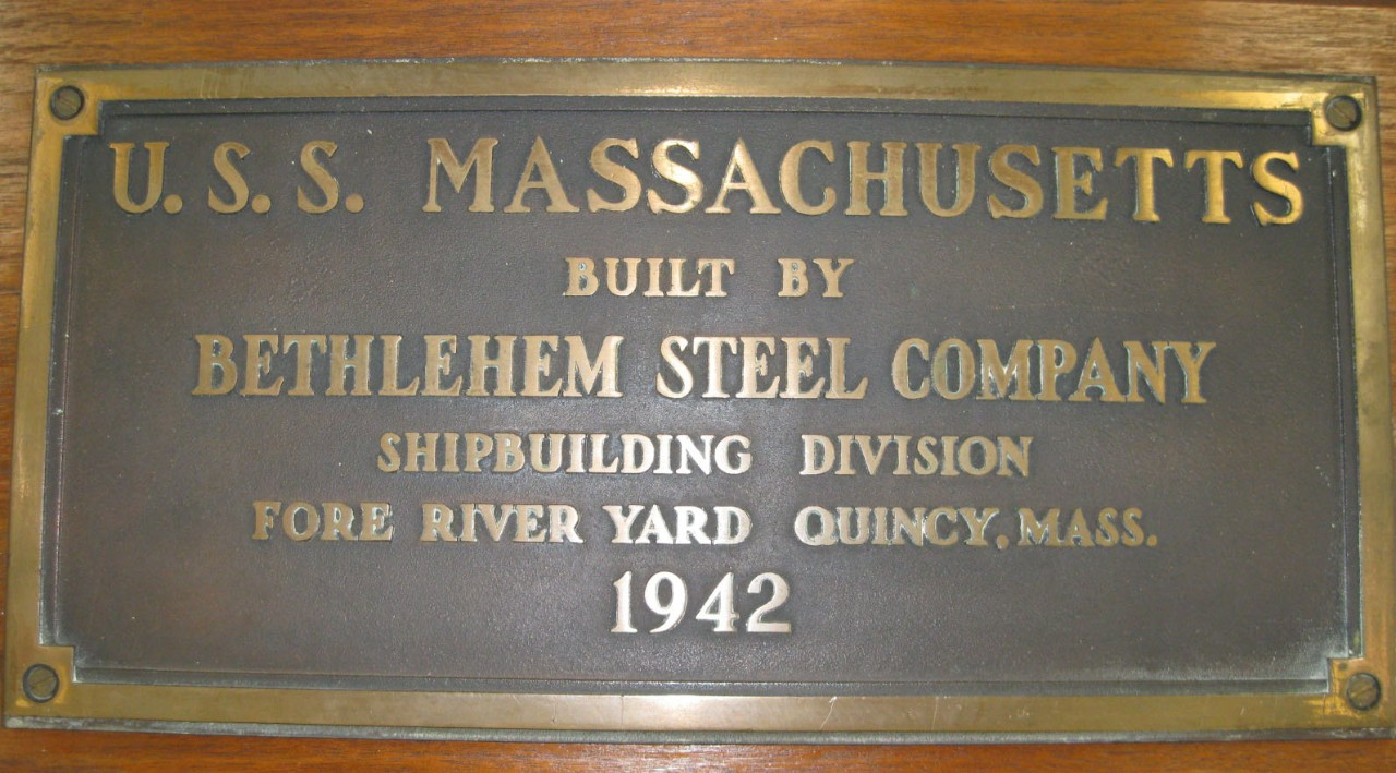 Bronze Plaque marking the building of the ship USS Massachusetts by Bethlehem Steel company