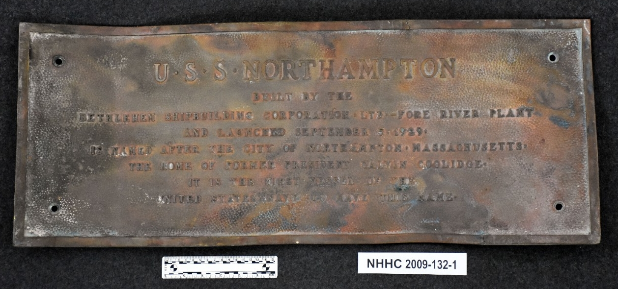 Steel Plaque, Builders, USS Northampton