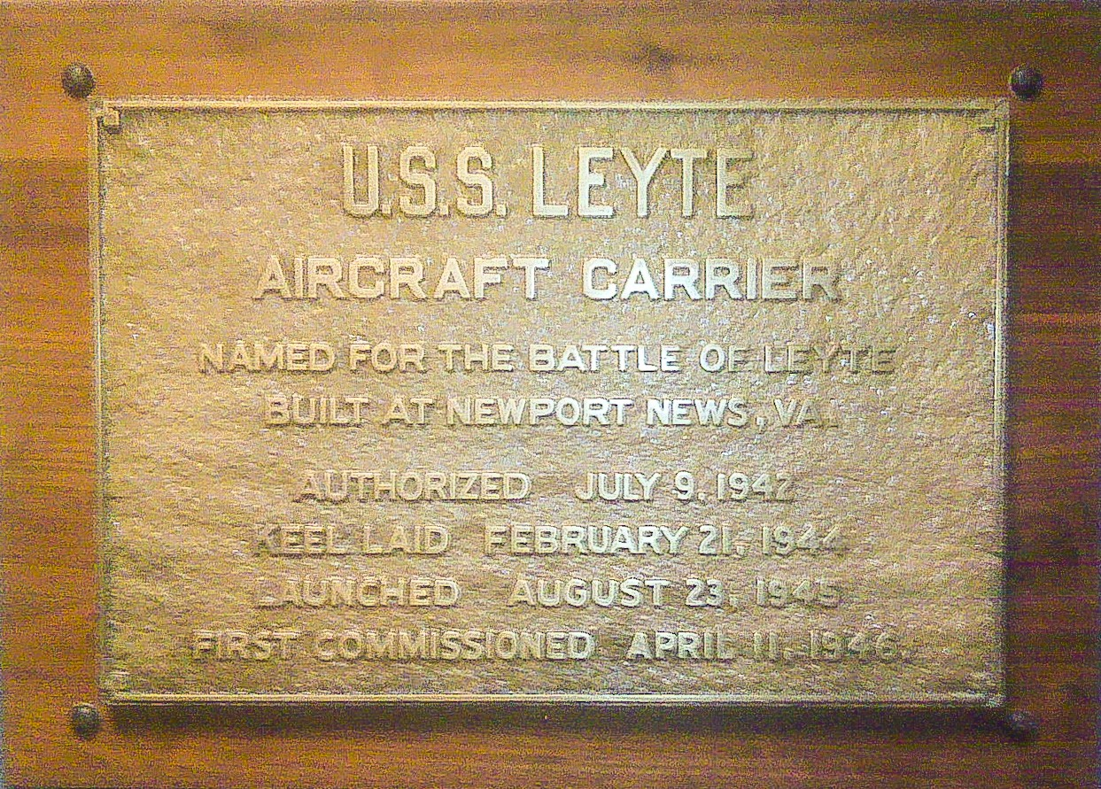 Brass builders plaque from the USS Leyte CV-32 Aircraft Carrier
