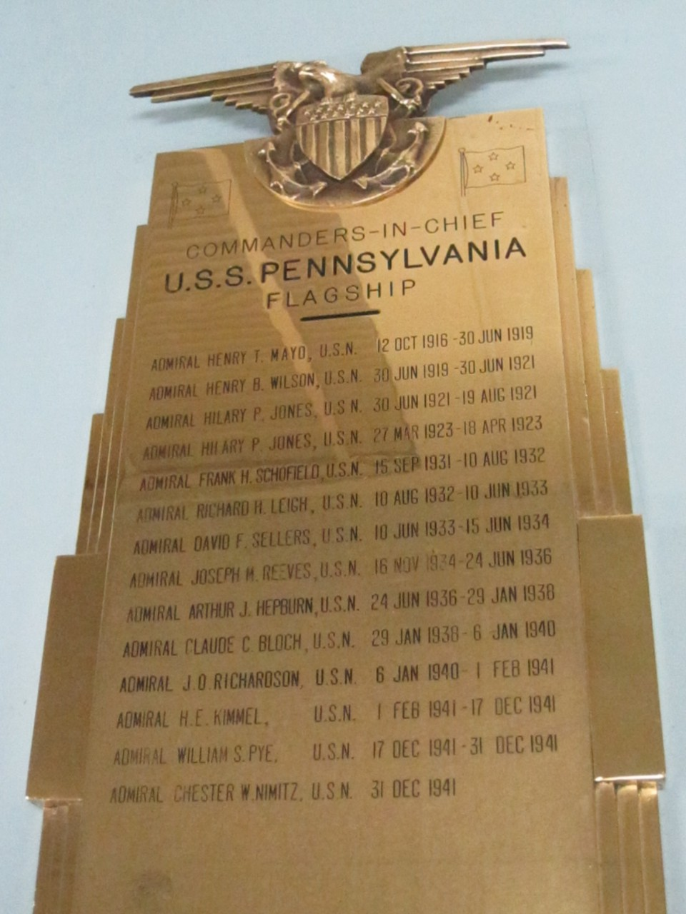 Brass plaque with Commanders in Chief of the Flagship USS Pennsylvania (BB-38)