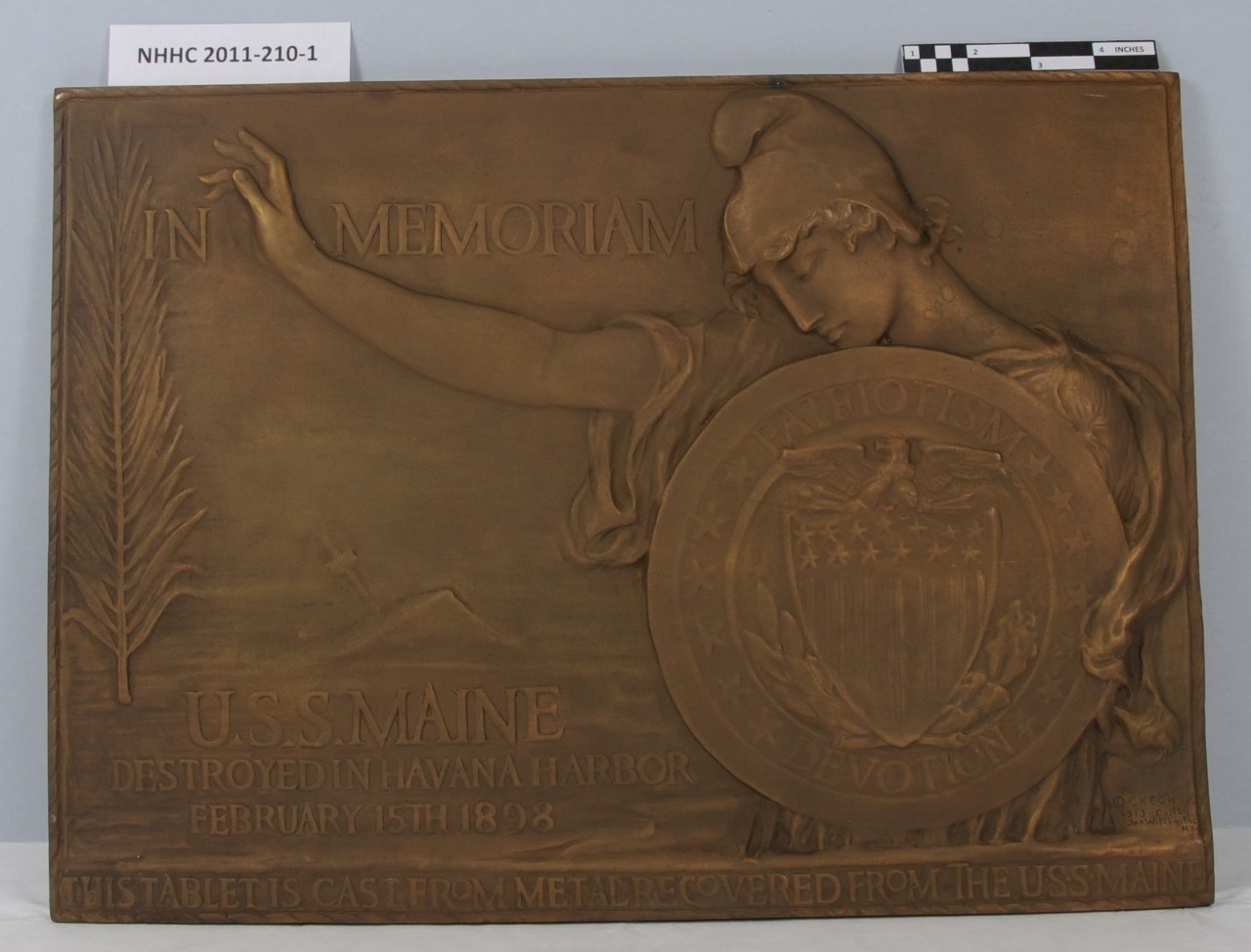 Memorial plaque made from metal recovered from the USS Maine