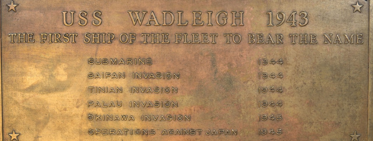 Historic Plaque from USS Wadleigh 1943
