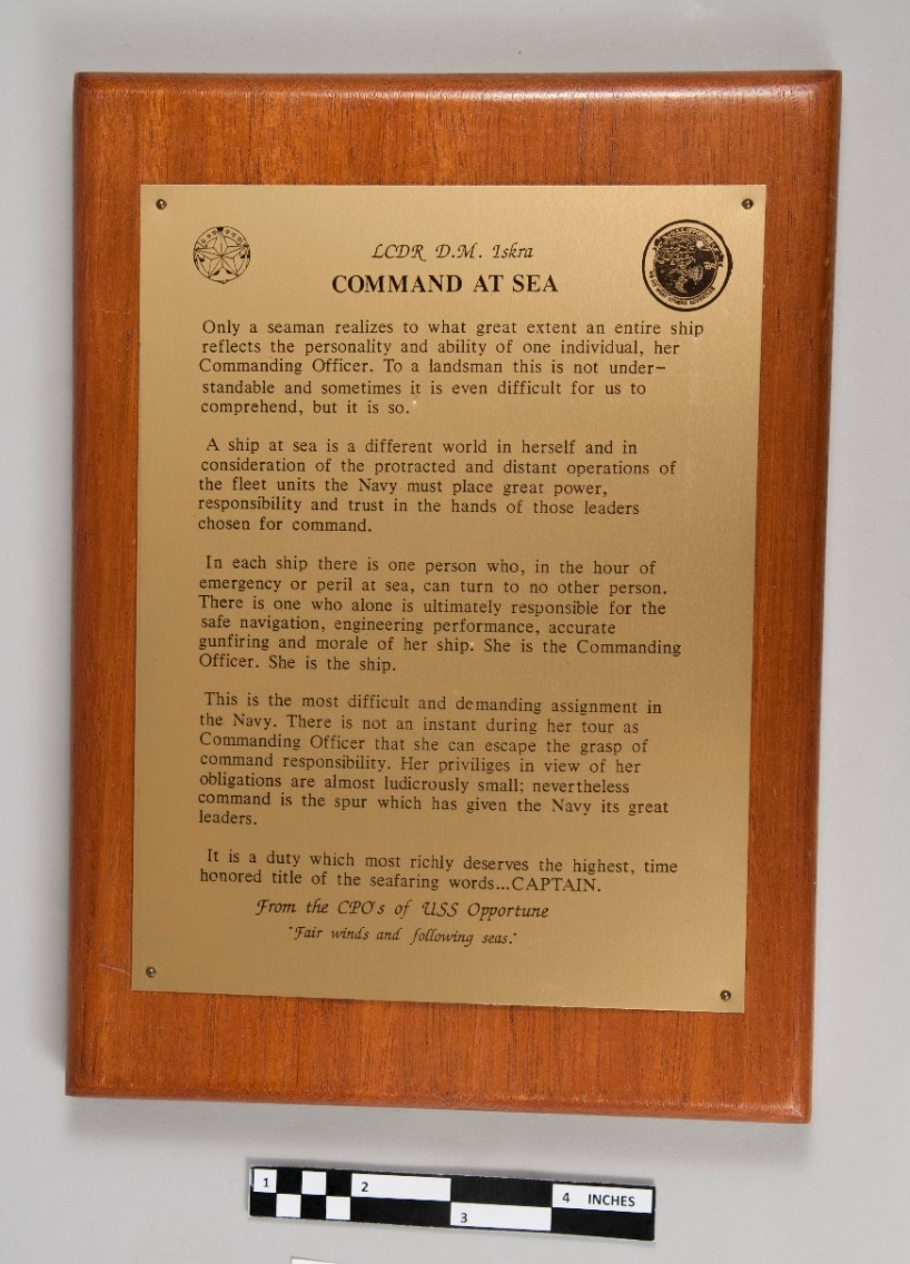 Command at sea plaque presented to LCDR Iskra from the CPO's of the USS Opportune