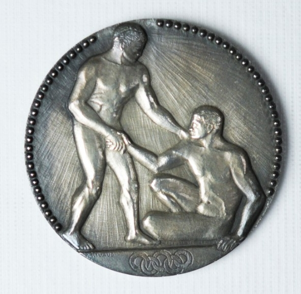 Obverse view of Silver Medal from the 1924 Paris Summer Olympics