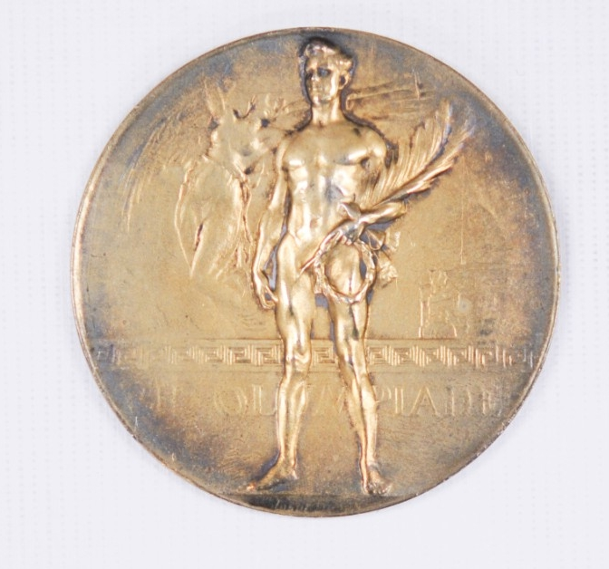 Obverse view of Olympic gold Medal 1920 belonging to Carl T. Osburn