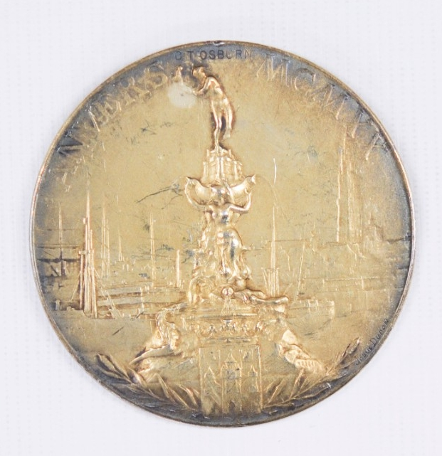 Reverse view of Olympic gold Medal 1920 belonging to Carl T. Osburn