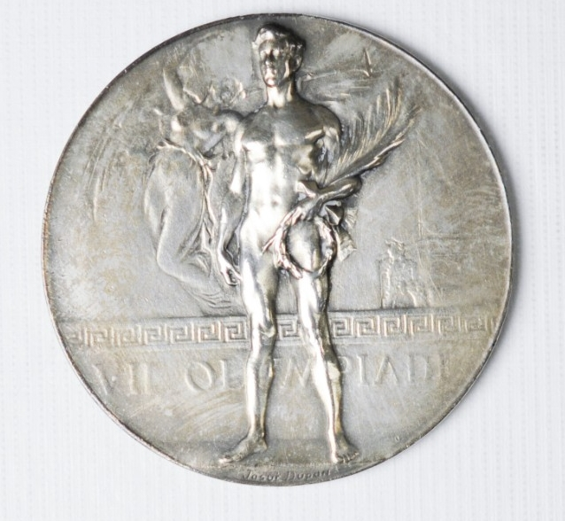 Obverse view of Olympic Silver Medal of Carl T. Osburn from the 1920 Olympics