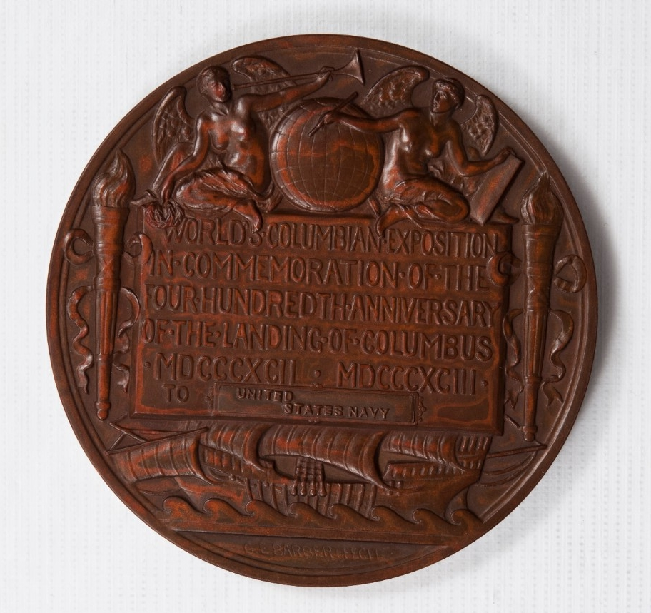 <p>reverse view of columbian exposition medal United States Navy</p>