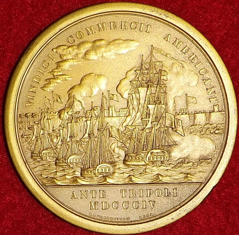<p>Medal reverse view depicting ships attacking Tripoli</p>