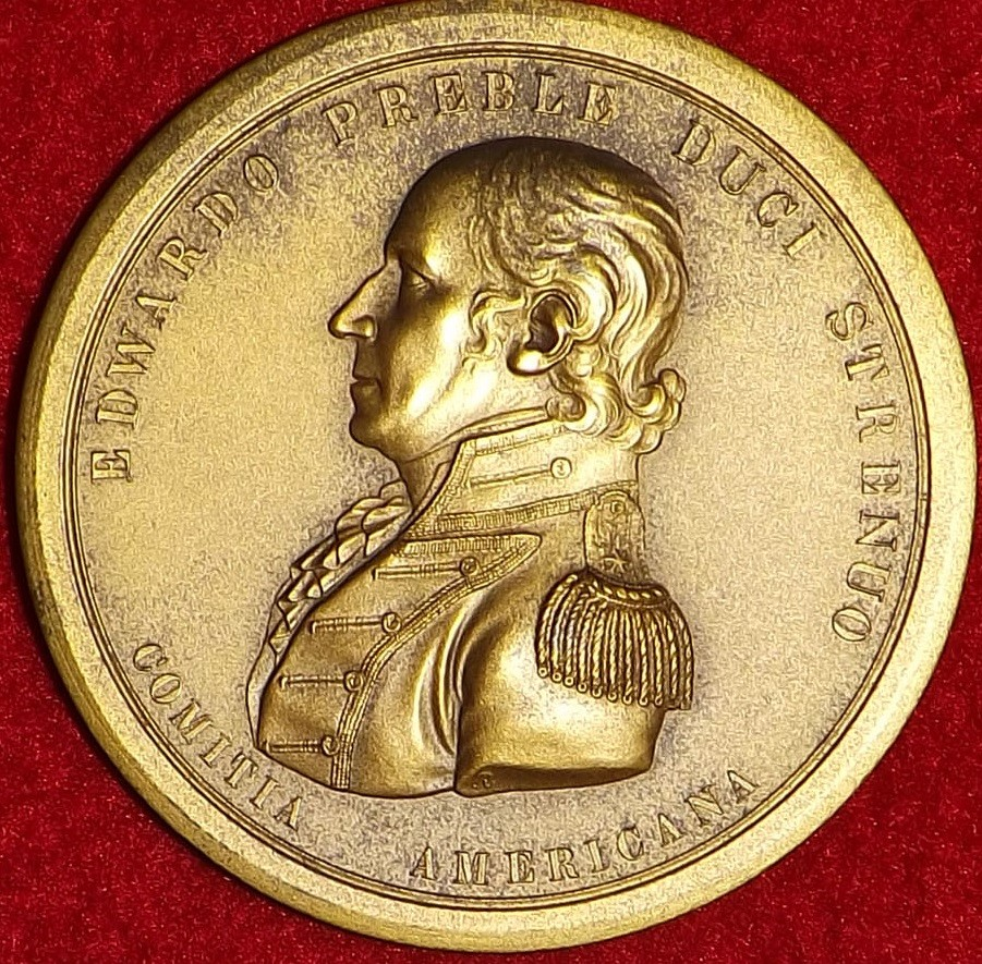 <p>Obverse view of Edward Preble Congressional Medal profile bust with his name</p>