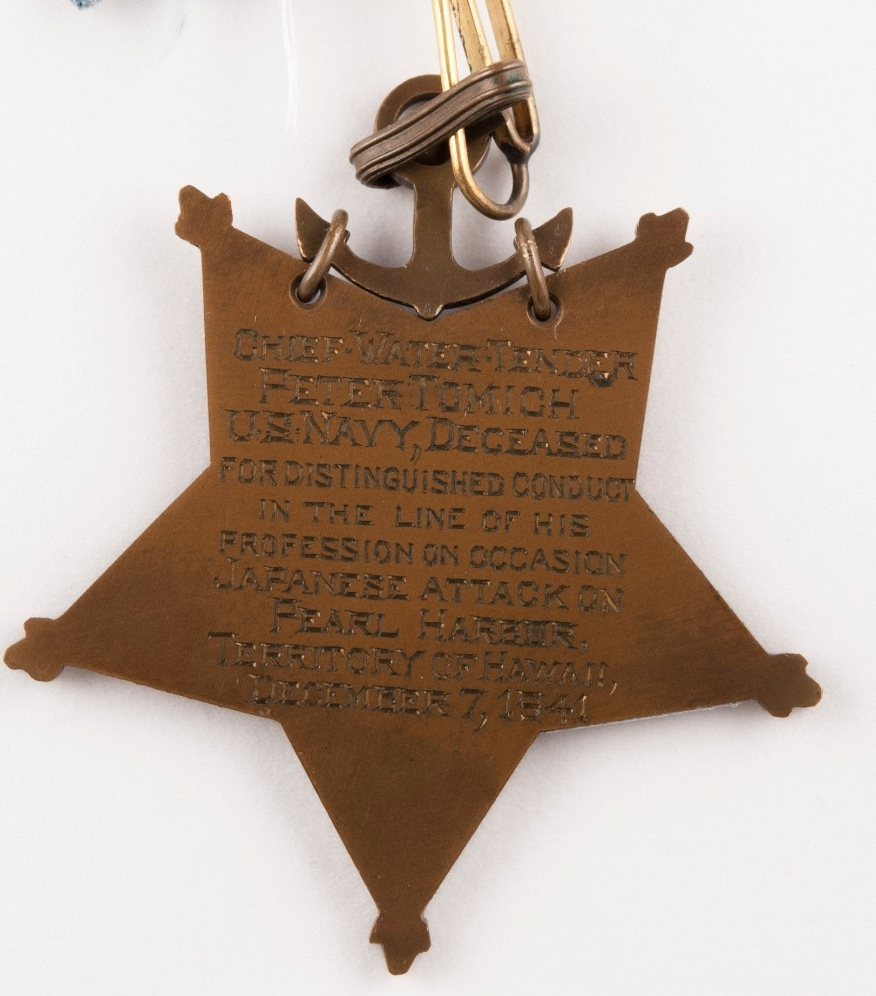 Engraved Reverse of Medal of Honor for Peter Tomich