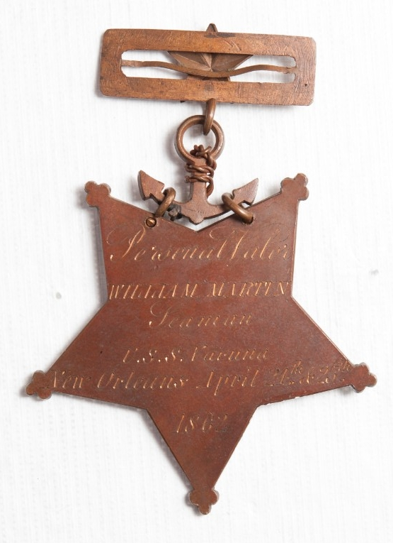 <p>Reverse view of medal of honor of william martin</p>