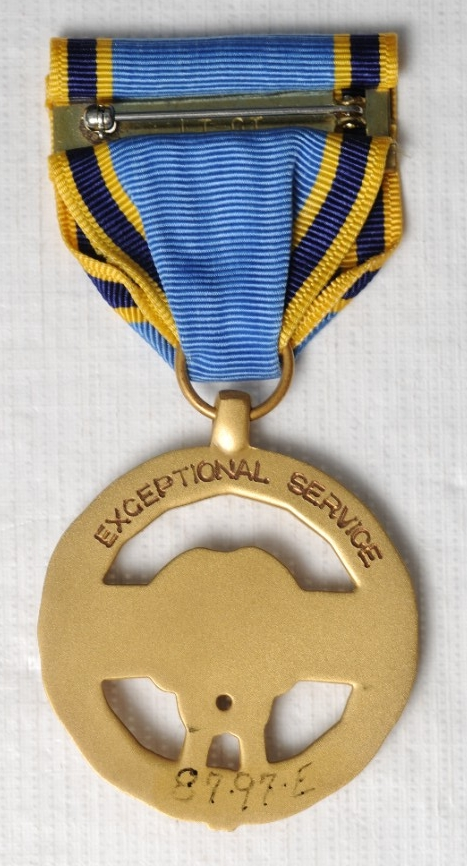 <p>Reverse of Exceptional Service Medal showing Brooch</p>