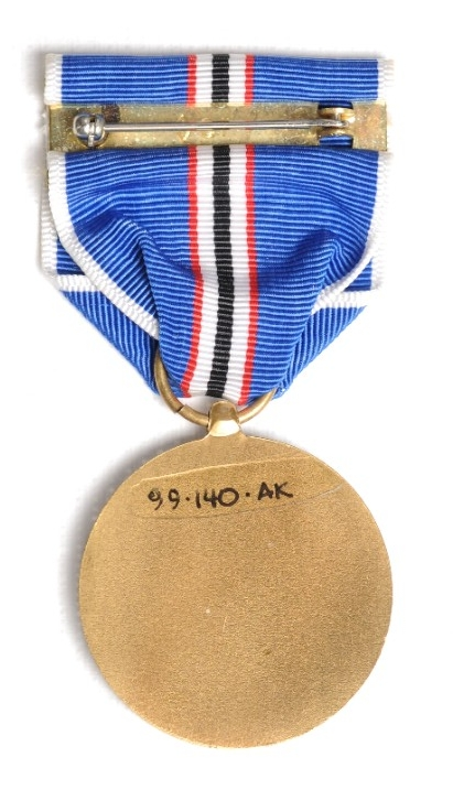 <p>US Coast and Geodetic Survey Atlantic Warzone Medal reverse image with pin and clasp bar visible</p>