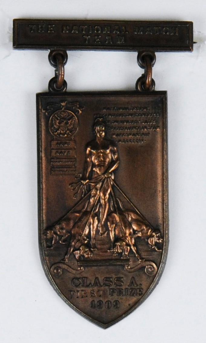 National Team Match Medal of Carl T Osburn 1909 Obverse