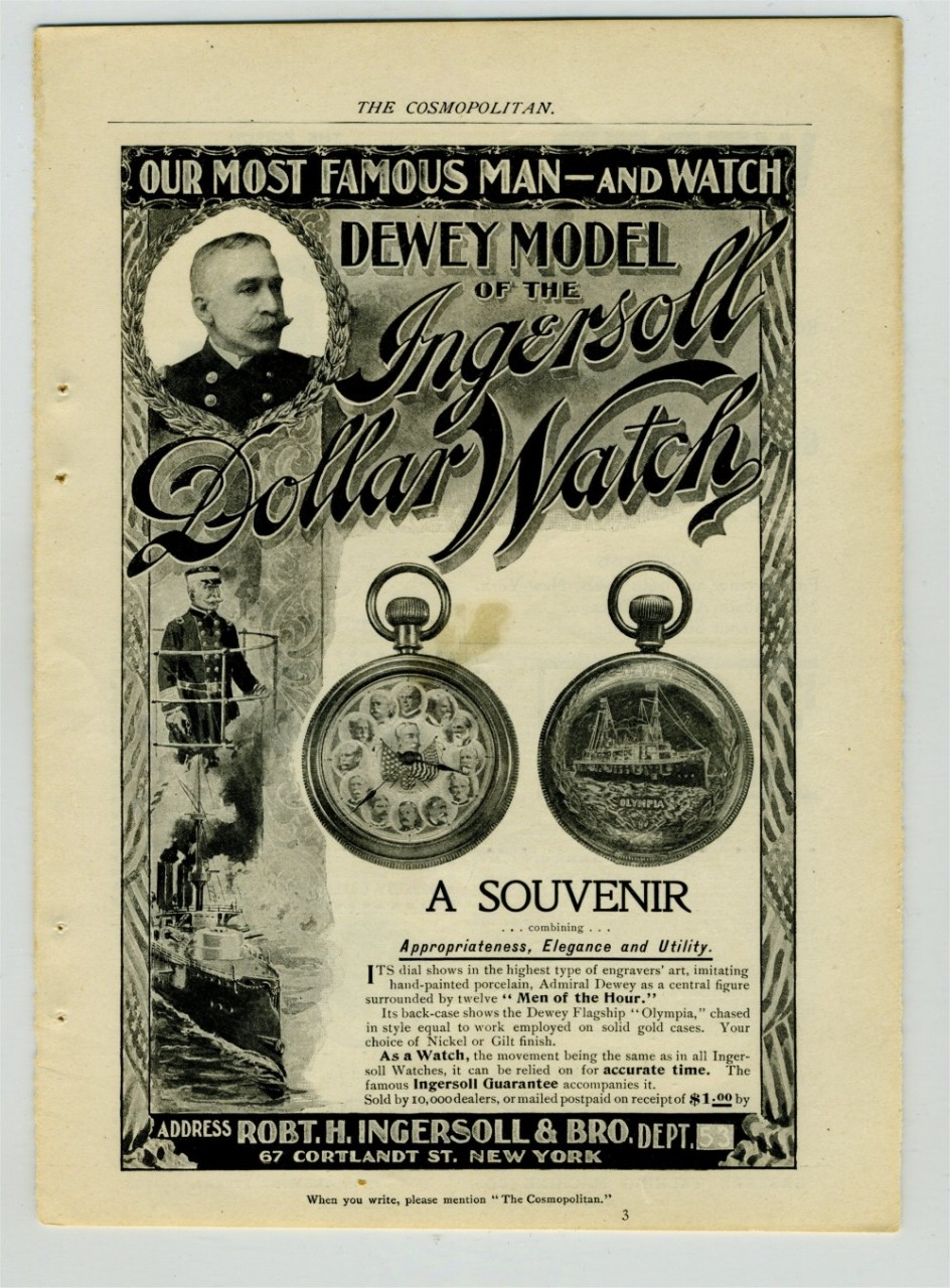 Original Advertisement for Dewey Ingersoll Pocket Watch