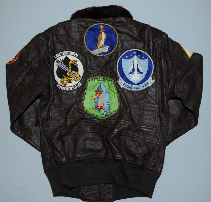 Rear of Flight Jacket belonging to future CNO Holloway with Flight Patches