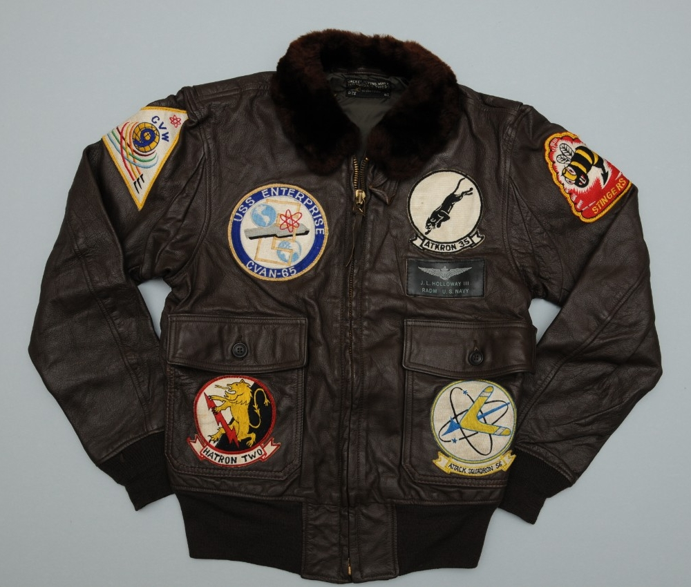Leather flight jacket with patches belonging to Admiral and future CNO James Holloway