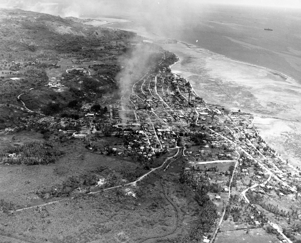 Aerial view of Agana, Guam. Photo taken by plane from USS Yorktown (CV-10). September 5, 1944. Image is from the CAPT Hays R. Browning Photo Collection.