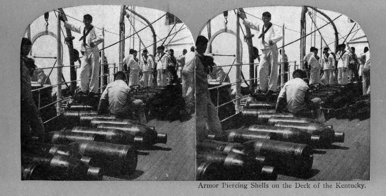 9 black and white stereoscopic images of U.S. Navy warships donated by Captain J.C. Byrnes to the Naval Historical Foundation in 1949. USS Gloucester (1898-1919) off Callao, Peru; battleship scenes around and on board USS Kentucky (BB-6) and USS Ohio (BB-12); torpedo boat off San Francisco. NHF-113-E features duplicate views.