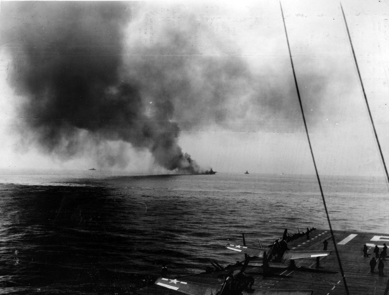 <p>S-100-H.001 USS Bunker Hill (CV 17)&nbsp;burning after kamikaze attack&nbsp;- 11 May 1945</p>