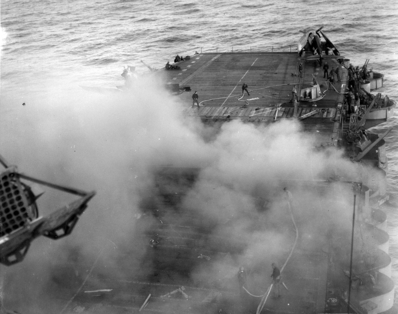 <p>S-100-H.006 ADM Arleigh Burke - Aftermath of kamikaze attack on USS Enterprise (CV 6)</p>