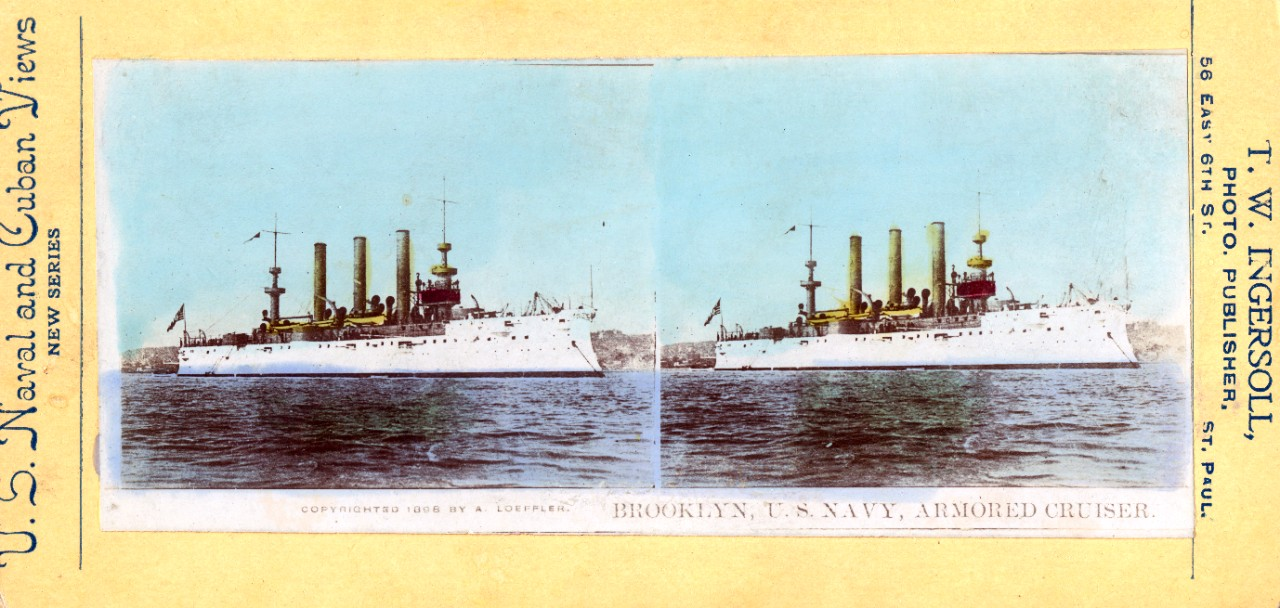 Color stereo card of USS Brooklyn (CA-3) circa 1890s.