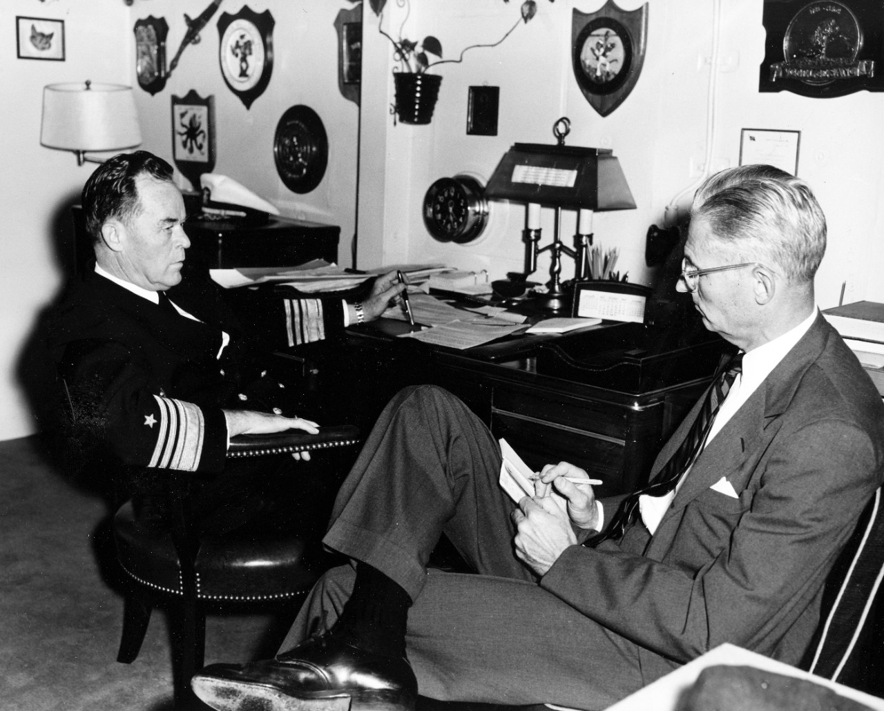 "Hanson W. Baldwin with VADM Charles R. ""Cat"" Brown"