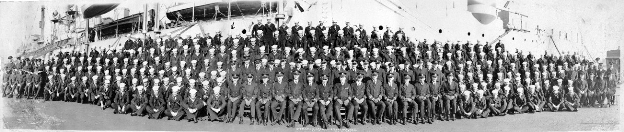 "One black and white panorama photo measuring 49"" x 10"". Shown is the crew of USS Milwaukee (CL-5) on 9 December 1927."
