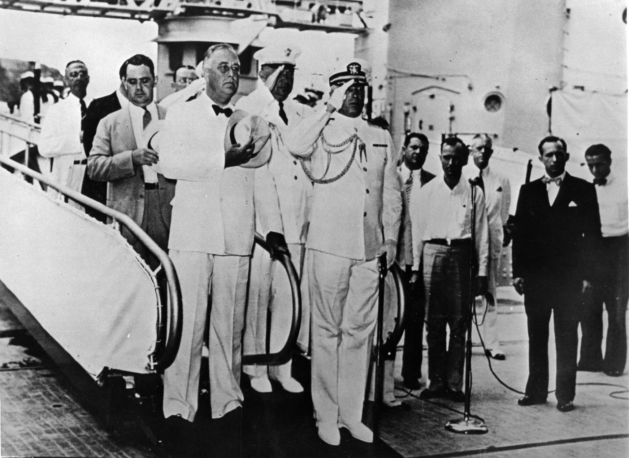 4 black and white photos related to USS Houston (CA-30) donated by the Cruiser Houston Commission. Shown are Captain Albert Rooks, President Franklin Roosevelt, High Commissioner Francis Sayre, and Admiral Thomas Hart. Some photos have been assigned NH numbers.