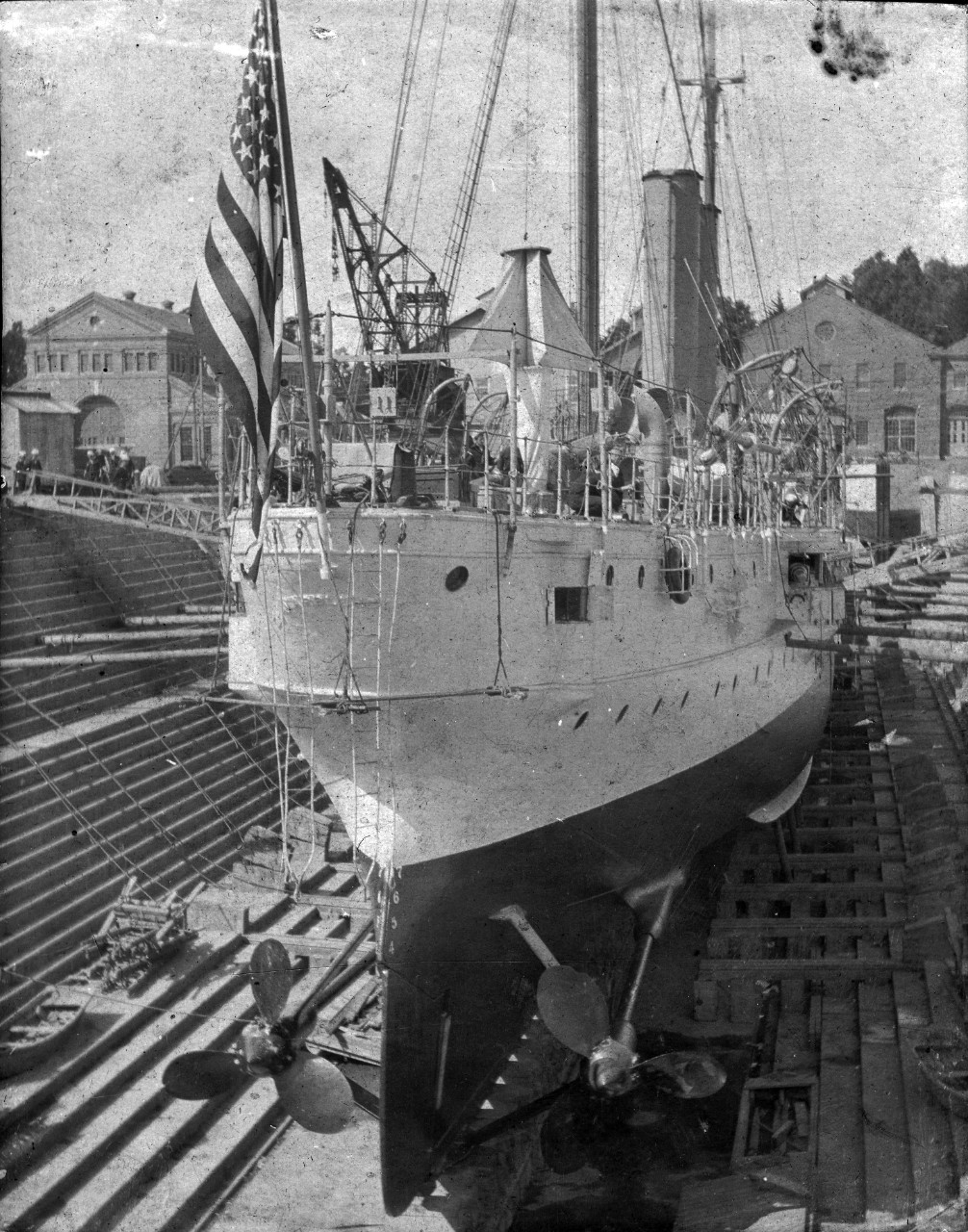 Single image of USS Marblehead (C-11) in dry dock at Mare Island, CA, circa early 1900s.