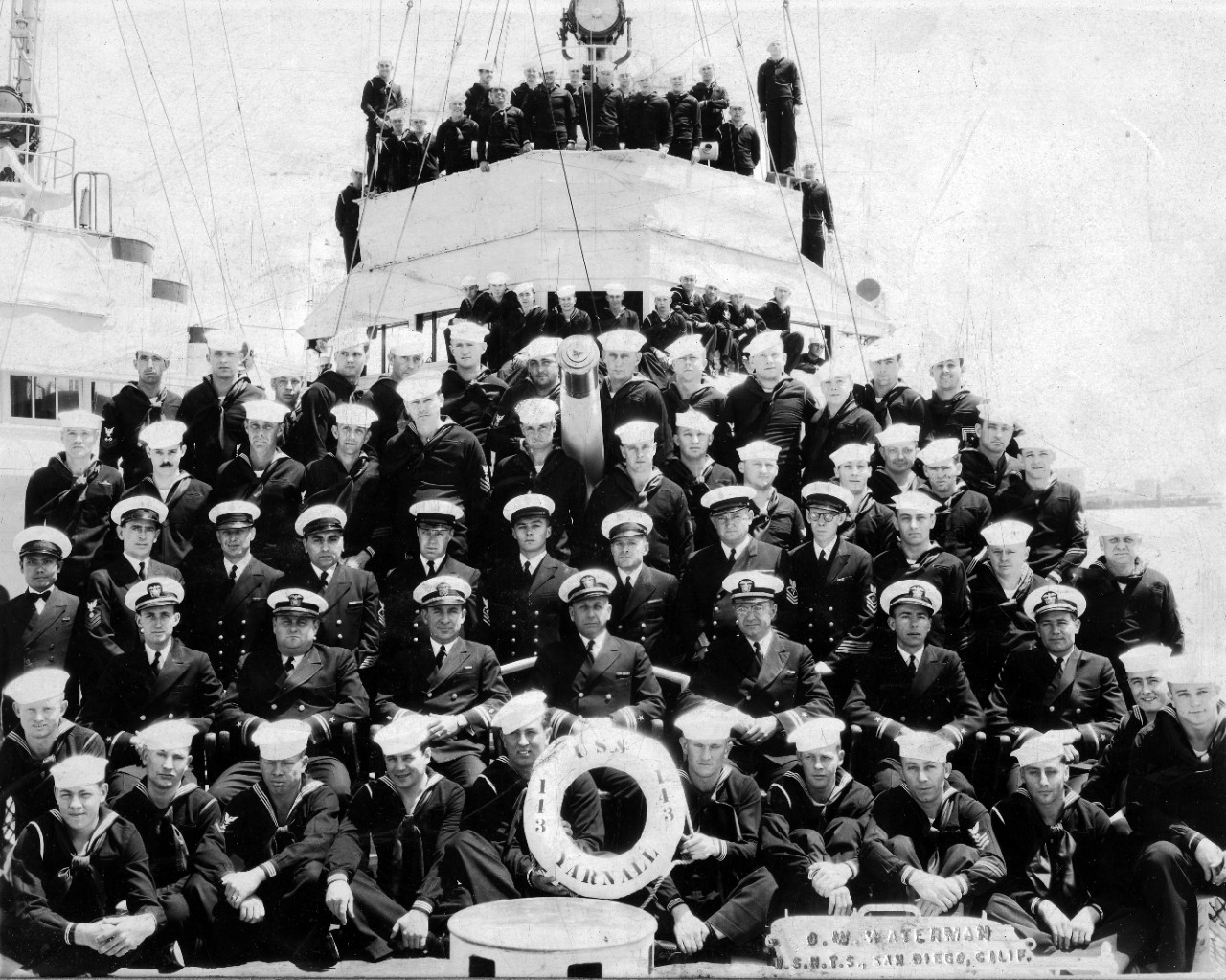 Collection of two photos – officers and crew of USS Yarnall (DD-143), circa 1935-1938 and officers and crew of USS Sperry (AS-12), San Diego, February 7, 1951. Both images  likely include the donor in the photograph.