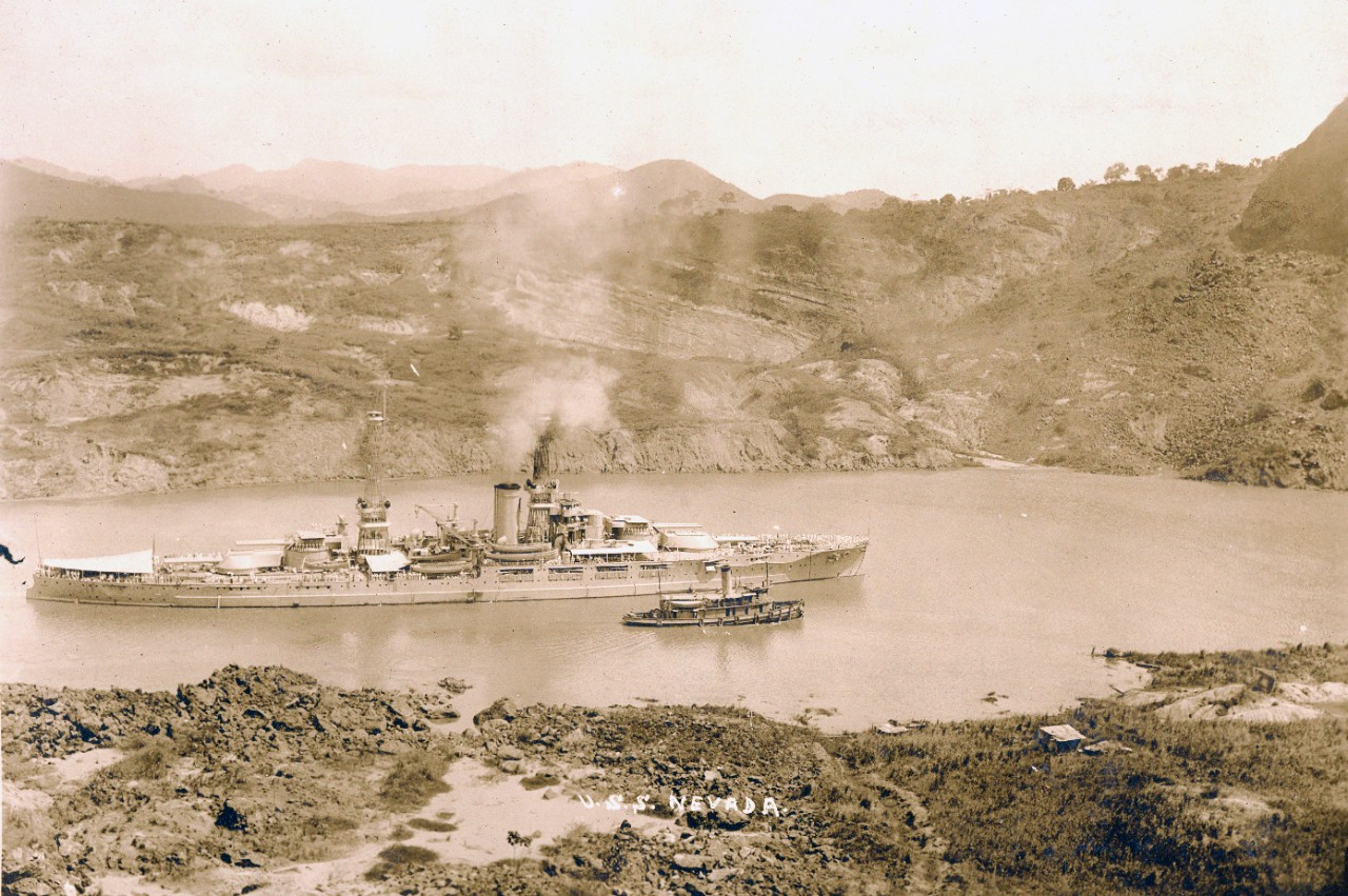 USS Nevada (BB-36) in the Panama Canal, circa 1920s.