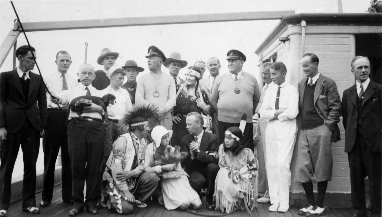 WWI German naval hero, Count Felix Von Luckner, circa 1930s, with a scouting group. His first mate, Lauterbauch, is also identified in the photograph.