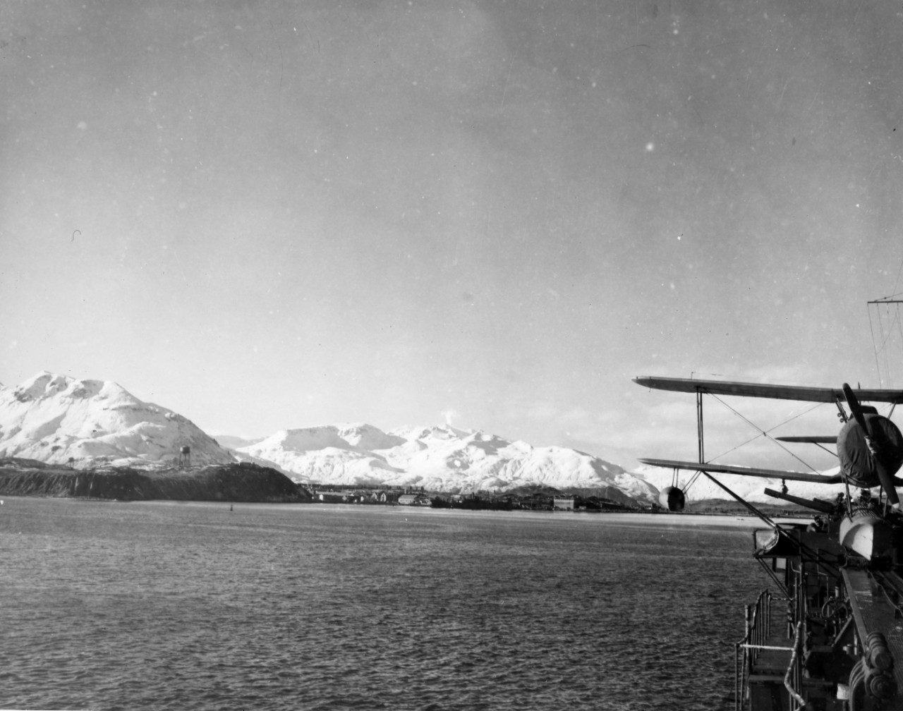 Sailing into Dutch Harbor, October-November 1942. From the VADM Robert C. Giffen Photo Collection.