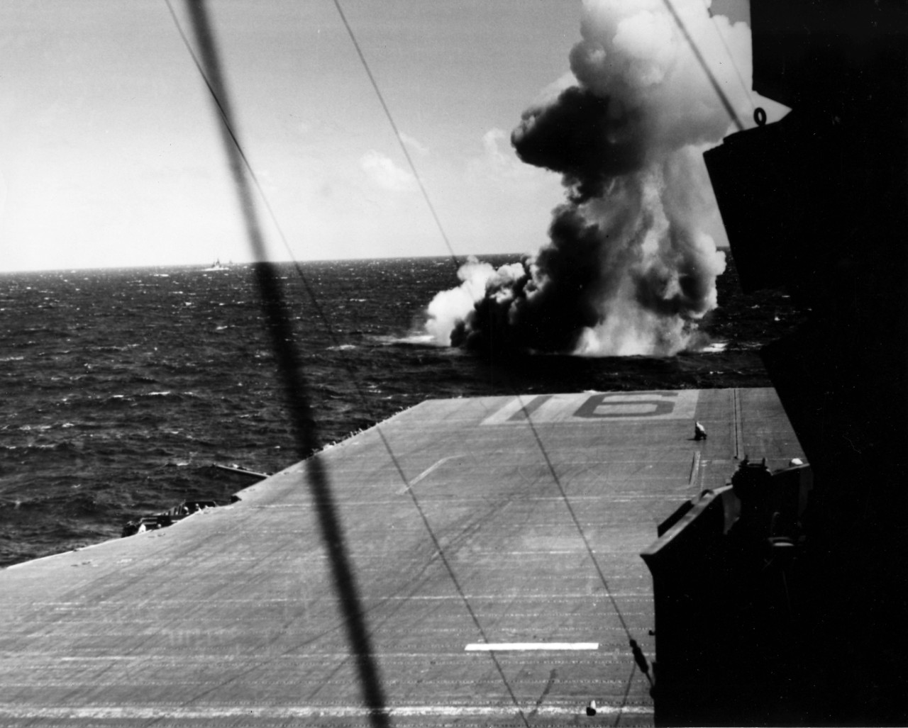 "Japanese ""Kate"" shot down by USS Lexington (CV-16) during US Navy's raid on Eniwetok, December 4, 1943. From the VADM Robert C. Giffen Photo Collection."