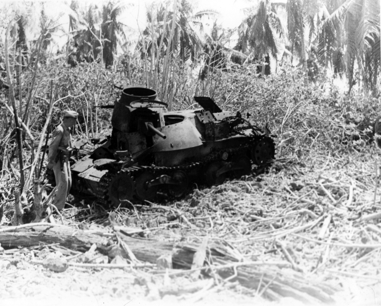 A Japanese tank damaged during Eniwetok Invasion, February 1944. From the VADM Robert C. Giffen Photo Collection.