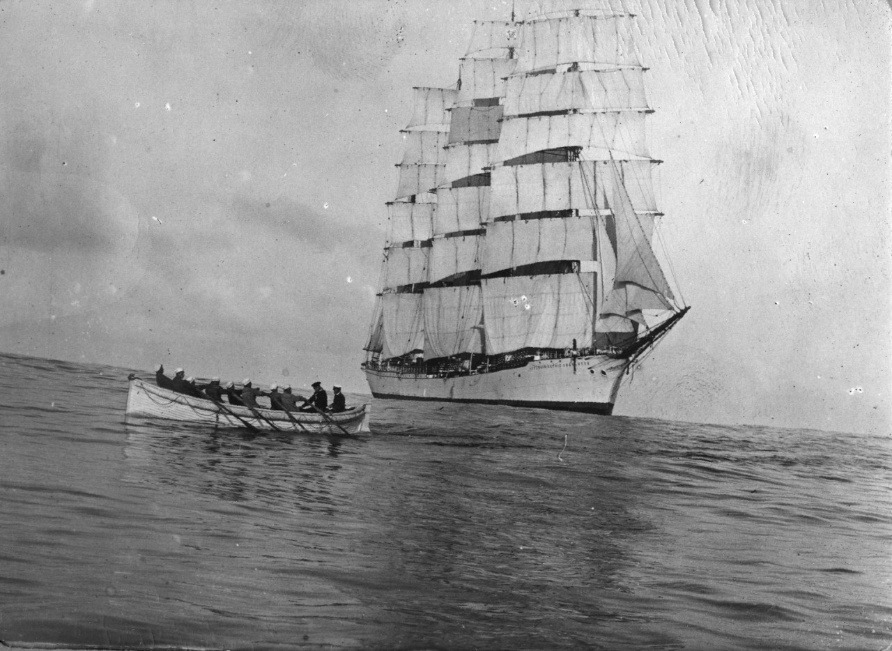 24 page photo album with black and white images of the German training ship Herzogin Sophie Charlotte, a four-mast barque built in 1894. Photos are taken on board the ship, showing the crew performing duties, hunting, fishing, Neptune Party, sports, and officer portraits.