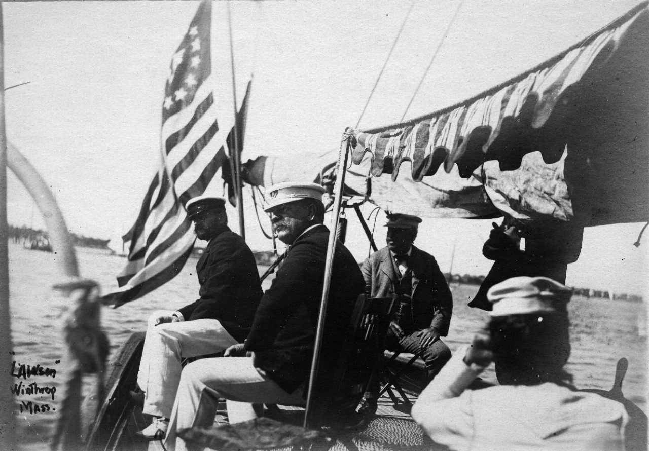 18 black and white and sepia photos donated by Edward Leavitt Horton, showing naval and maritime activities around New England circa 1900. US Navy warships shown include USS Kearsarge (BB-5) and USS Kentucky (BB-6). Secretary of the Navy John D. Long is seen on a private yacht. Many views of private and merchant sailing vessels and yachts, including: barque Saxony; schooner Collier; SS Etrusco aground at Scituate, Massachusetts, circa 1897; schooner Governor Ames; sloop Almira; Vanderbilt's steam yacht North Star at Newport 1914. Views of Port Clyde Lighthouse, Maine; Portland Head Lighthouse, Maine; and Isle of Shoals Hotel, Portsmouth, New Hampshire. Some photos have been assigned NH numbers.