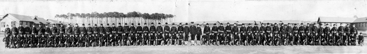 Oversize panoramic of Company 83 at Hampton Roads Naval Base, VA, January 12, 1920. All individuals in the image are noted at the bottom of the photo.