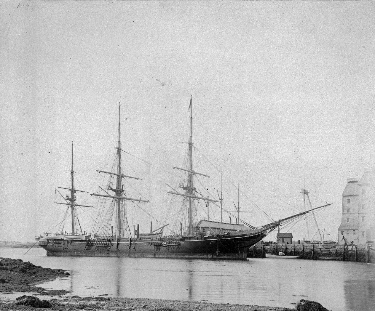 Two images of USS Monongahela (1863-1908). One is taken at Mare Island in 1884, and has been assigned as NH 45209. The other shows the ship moored at an unidentified location.