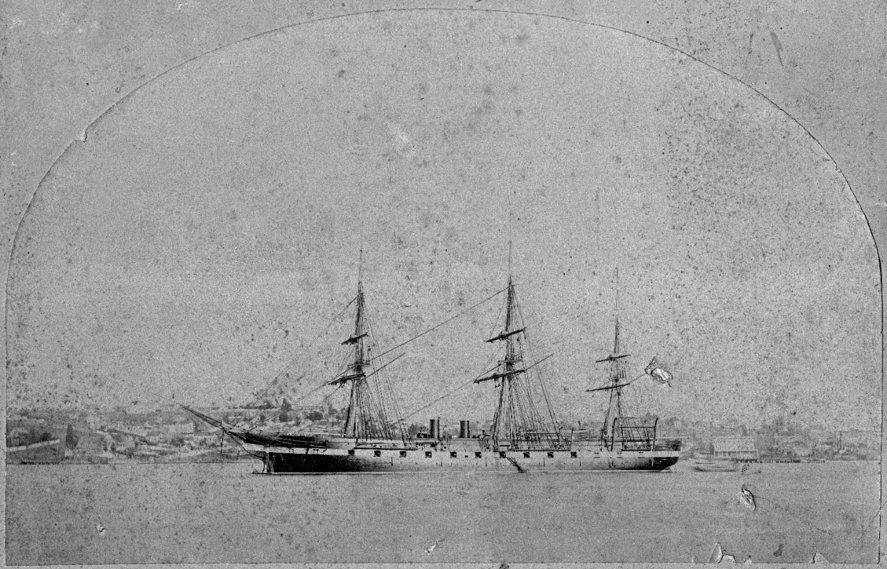 "1 sepia photograph mounted on cardboard, of USS Pensacola (1859-1911) off Mare Island, January 1881. Pamphlet ""Narrative of the Wreck of the Chilian Ship Maria Helena,"" written by USS Pensacola commanding officer Rear Admiral Thomas Holdup Stevens, Jr. Pamphlet transferred to Navy Department Library."