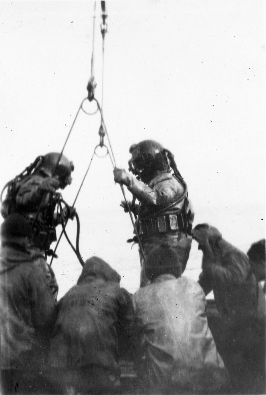Two divers on stage during S-4 salvage, 17 March 1928