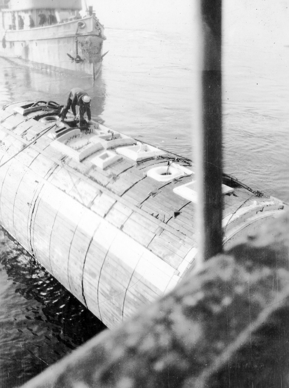 Pontoon being readied for attachment to S-4 during 1928 salvage operations.