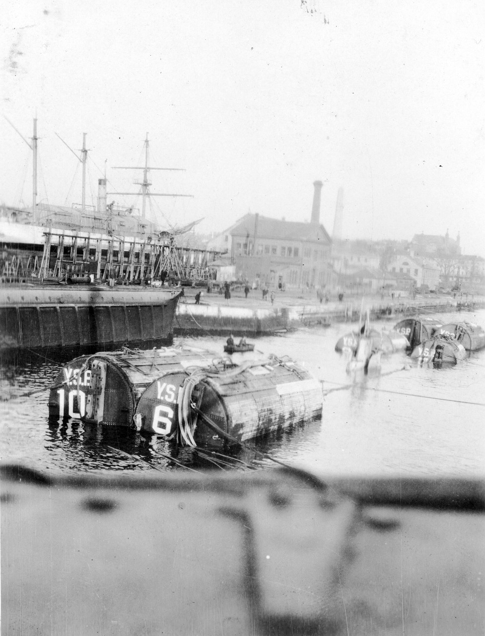 Pontoons used in salvage operation of S-4, March 1928.