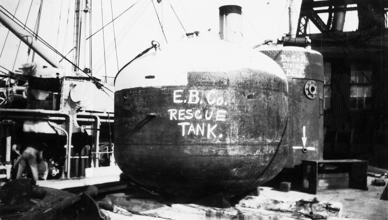 E.B. Co. rescue tank and diving bell on the deck of the submarine rescue ship, USS Falcon (ASR-2).