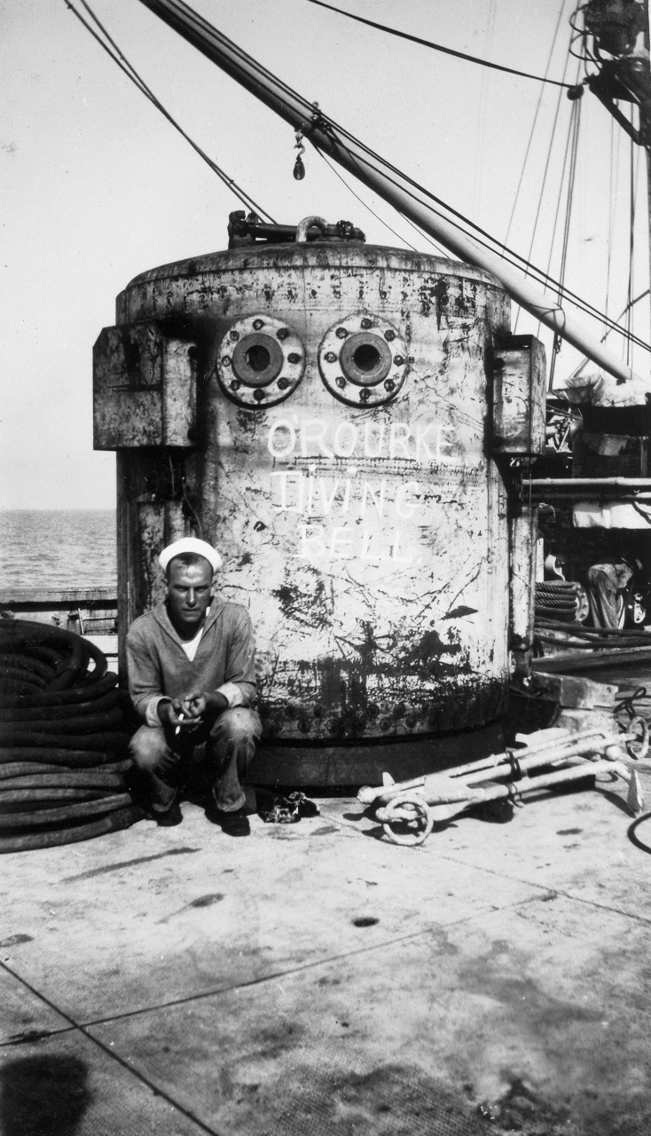O'Rourke diving bell on the deck of submarine rescue ship USS Falcon (ASR-2).