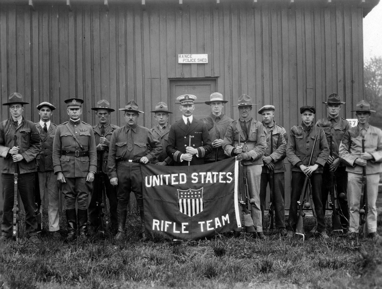 Approximately 50 photographs from Carl T. Osburn who was an Olympic and international rifle champion, donated to the Naval Historical Foundation by his wife in 1967. Depicted are personnel from U.S. rifle teams in which he participated from c.1912-1924, including Olympic Games. Also shown are shooting targets, personnel at the United States Naval Academy, and change of command ceremony USS Concord (CL-10) 1931. Some photos have been assigned NH numbers or were removed to the NH collection. Souvenir album transferred to Navy Department Library.